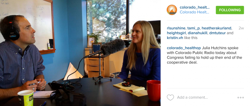 Rachel Moore recorded, captured, and posted images of John Daley, Colorado Public Radio, interviewing Julia Hutchins, CEO of Colorado HealthOP.