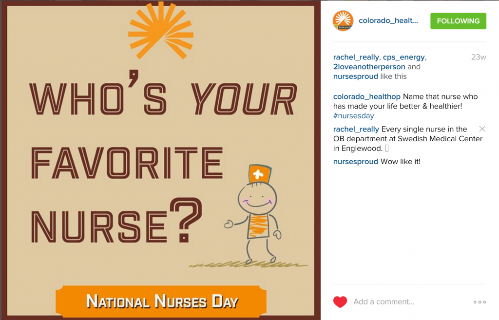 Rachel Moore custom designed an Instagram post graphic for Nurses' Day by Colorado HealthOP