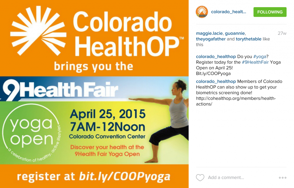 Rachel Moore designed a custom branded graphic for an Instagram post promoting a partner event between 9News Health Fair and Colorado HealthOP