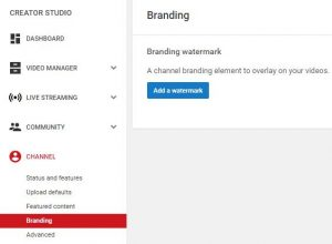 Select Branding in the YouTube Creator Studio to Add a Watermark (image)