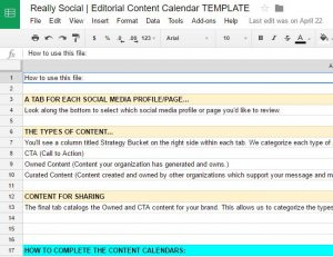 Really Social | social media content calendar template (screenshot)